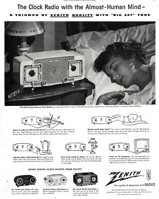 1953 Zenith Radio: Clock Radio With the Almost Human Mind Vintage Print Ad