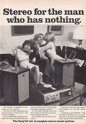 1969 Sony HP188: Stereo For the Man Who Has Nothing Vintage Print Ad