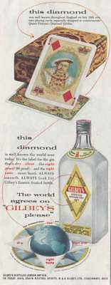 1955 Gilbey's Gin: This Diamond Was Well Known Vintage Print Ad
