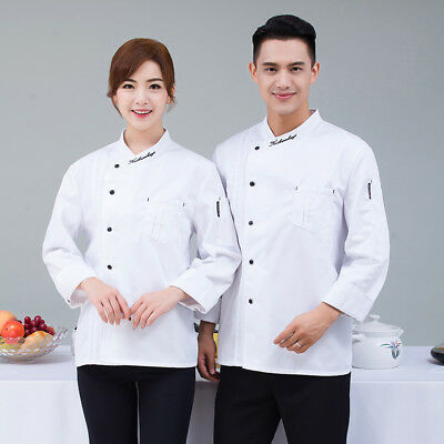 Chef Coat Kitchen Cook Suit Long Sleeve Restaurant Hotel Working Uniform Unisex