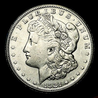 1921 S ~**ABOUT UNCIRCULATED AU**~ Silver Morgan Dollar Rare US Old Coin! #972