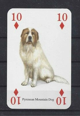 One Single Art Playing Card GREAT PYRENEES PYRENEAN MOUNTAIN DOG 10 Diamonds