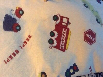 Baby Connection Red Green Beige Background Race Cars Fire Truck Auto Crib Sheet