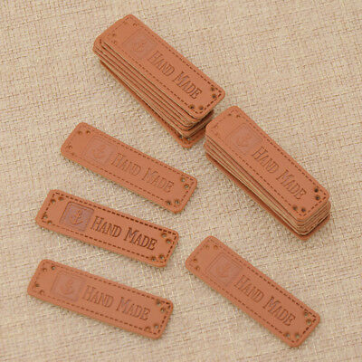 20pcs Brown Hand Made PU Leather Label Tags DIY Sewing Patches Craft Supplies