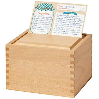 Recipe Box Card Set with 8 4x6 Recipe Cards, Beechwood and Card Holder, Cards Ma