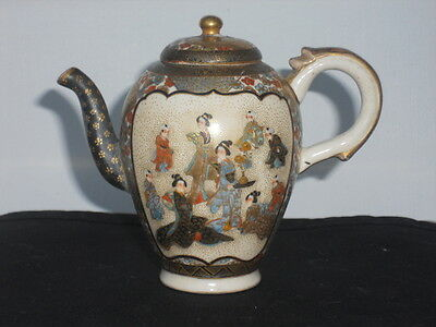 Antique Japanese Satsuma Miniature 3.5 Inches Tall, Tea Pot,sake Pot, Perfect
