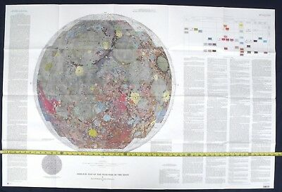 APOLLO 1971 Moon Map GEOLOGIC MAP OF THE NEAR SIDE OF THE MOON So Cool Looking!