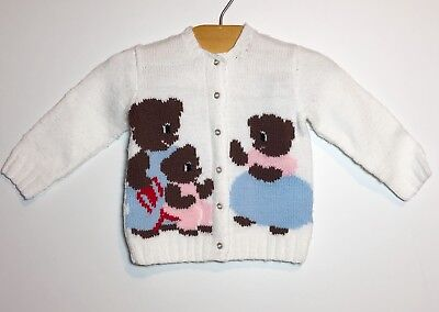 Vintage Handmade Toddler Cardigan Novelty Three Bears Knit Button Down Size 2 3