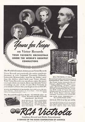 1938 RCA Victrola: Toscanini, Yours for Keeps Vintage Print Ad