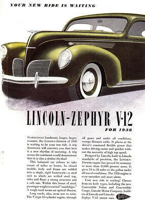 1938 Lincoln Zephyr V12: Your New Ride is Waiting Vintage Print Ad