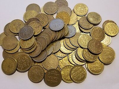 Lot of 50 No Cash Value Brass Tokens - Eagle, Size .984