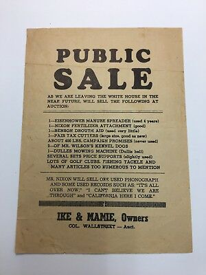 Ike And Mamie Public Sale Notice President Dwight D Eisenhower Sign Poster Flyer