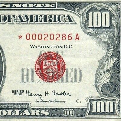 """*Rare 1966 $100 US Note (( STAR )) Red Seal """""""" Writing """""""" # *00020286A"""