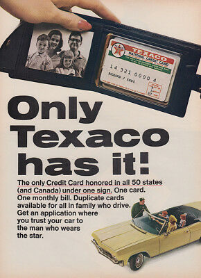 1965 Texaco: Only Credit Card Honored in All 50 States Vintage Print Ad