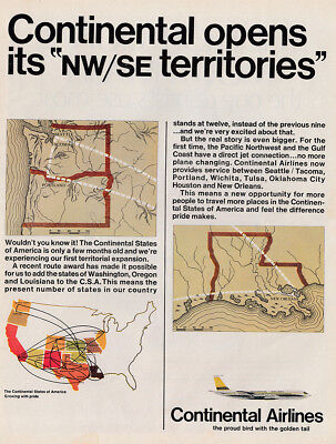 1967 Continental Airlines: Opens Its NW SE Territories Vintage Print Ad