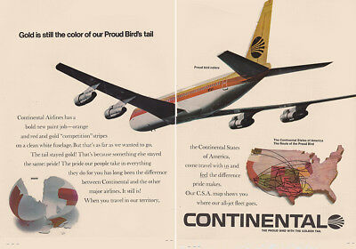 1968 Continental Airlines: Gold Is Still the Color, Birds Tail Vintage Print Ad