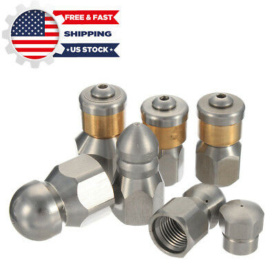 """1/4'' 3/8"""" 1/8"""" F Pressure Washer Drain Sewer Cleaning Pipe Jetter Rotary Nozzle"""
