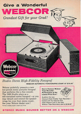 1960 Webcor Fonograf: Grandest Gift For Your Grad Vintage Print Ad