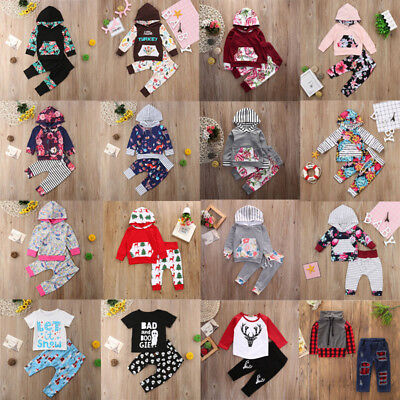 Newborn Infant Baby Boys Girls Outfits Clothes Hooded Pants Leggings 2PCS Set