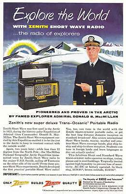 1955 Zenith Short Wave Radio: Explore the World, MacMillan Vintage Print Ad