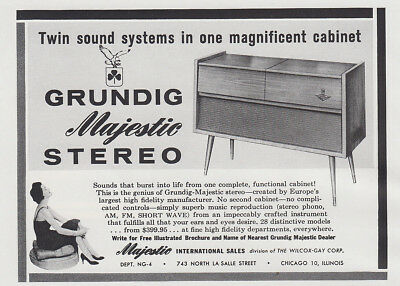 1959 Grundig Majestic Stereo: Twin Sound Systems Vintage Print Ad