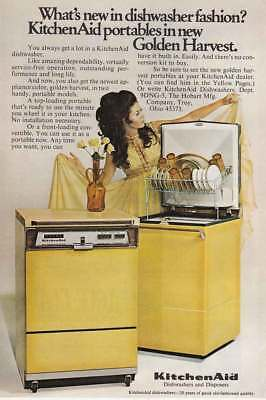 1969 KitchenAid: Dishwasher Fashion, Golden Harvest Vintage Print Ad