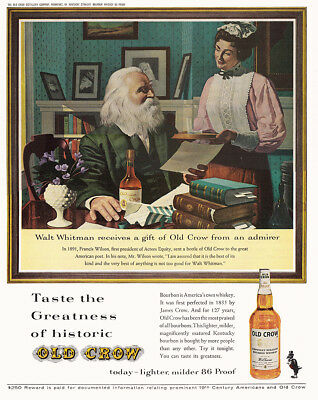 1962 Old Crow: Walt Whitman Receives a Gift Vintage Print Ad