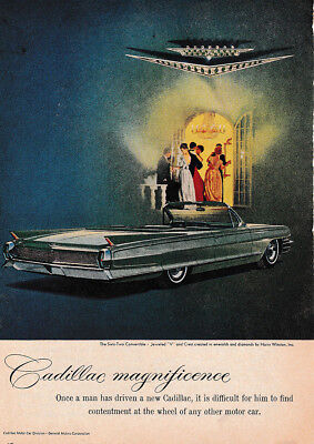 1962 Cadillac: Magnificience, Once a Man Has Driven Vintage Print Ad