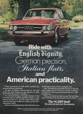 1973 Audi: Ride With English Dignity German Precision Vintage Print Ad