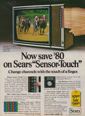 1977 Sears Television: Sensor Touch Vintage Print Ad