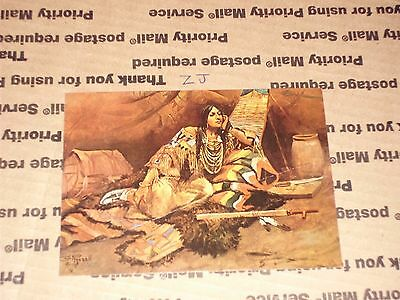 """Charles Russell Vintage Postcard """"Keoma No. 3"""" Beautiful Indian Maiden Sexy Pipe"""