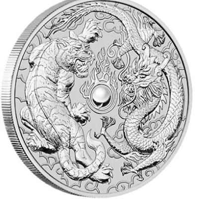 2018 Dragon & Tiger 1 oz Perth Mint silver coin