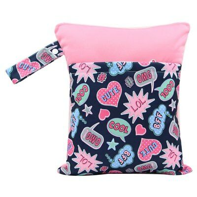 2 Pocket Double Zip Wet //Dry Waterproof Nappy Bag Hot Pink Narwhal Rainbow Small