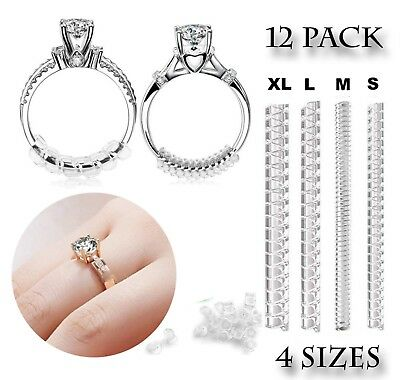 Ring Size Adjuster Wedding Rings Invisible Spiral Silicone 12 PACK Set 4 Sizes