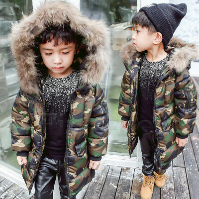 Childrens Toddle Baby Jacket Camouflage Coat Fur Hooded Cotton Boys Winter Parka