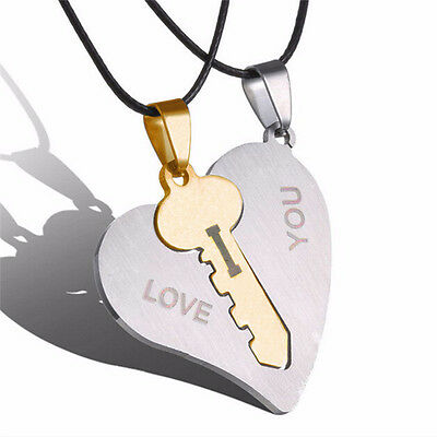 I Love You Couple Lover Matching Key Heart Stainless Steel Pendant Necklaces  EV