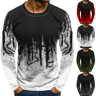 Fashion Men Slim Fit Long Sleeve Print T-shirt Crew Neck Blouse Shirts Tops Tee