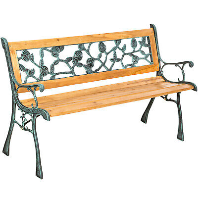Wooden Garden Bench Seat Cast Iron Legs Wood Balcony Outdoor Furniture Roses