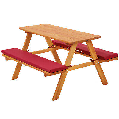 Kids picnic table bench set childrens wood garden furniture with cushions red