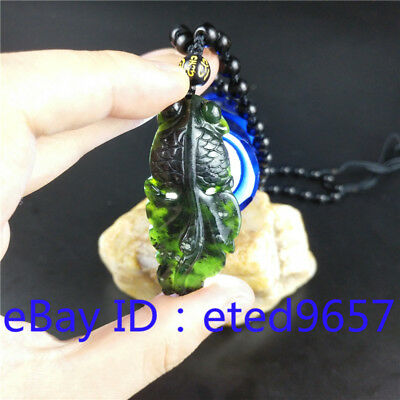 Natural Chinese Black Jade Goldfish Necklace Pendant Fashion Hand-Carved Amulet