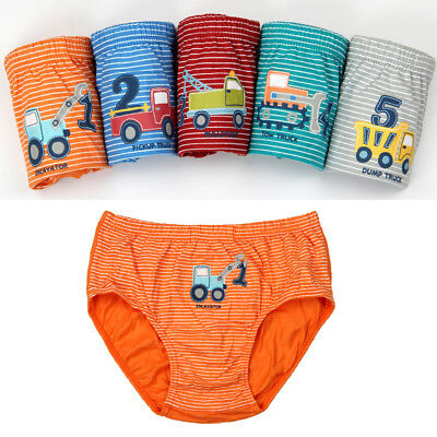 5PCS Kids Boys Cotton Briefs Cartoon Car Truck Underwear Panties Underpants AU
