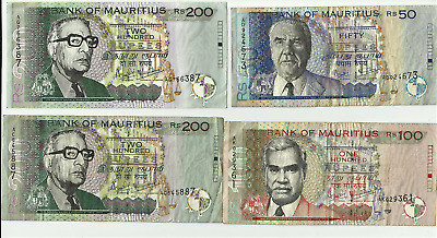 MAURITIUS LOT 4 banknotes  50 + 100 + 200 +200  RUPEES  all 1999