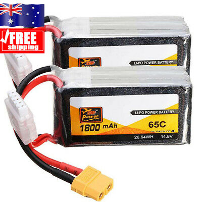 AU!!! 2X 4S 14.8V 1800mAh 65C Rechargeable LiPo Battery for RC Car Aircraft Toy
