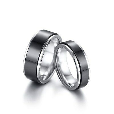 Stylish Double Layered Wedding Rings for Women Men Stainless Steel Couple Bands