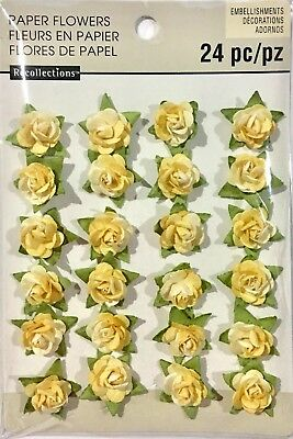Recollections Embellishments Paper Flowers 24 Yellow Coloured Pieces