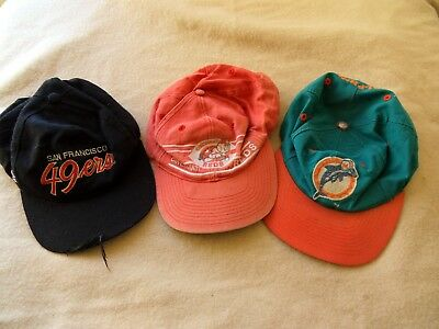 Miami Dolphins Cincinnati Reds San Francisco 49ers Baseball Caps OLD Condition