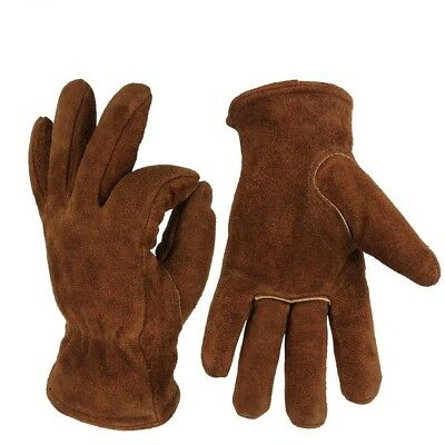 Men's Work Driving Cowhide Winter Warm Cashmere Windproof Safety Working Gloves