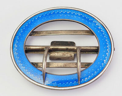 Amazing antique cobalt blue enamel and silver belt buckle