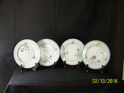 """RARE 4 Chinese c1770's QingDy Qianlong Famille Rose Celadon Ground HandPainted"