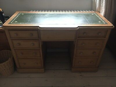 Victorian Antique pine desk with green leather top, gold details 124cm x 56 x 78